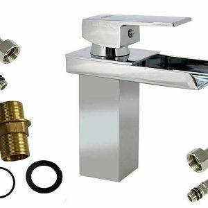 Miscelatore a cascata lavabo bagno rubinetto monocomando moderno cromato lucido